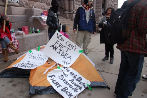 Tent at City Hall after Minneapolis Police removed people from it