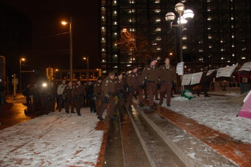 Just after 4:00 a.m. the police mass and approach