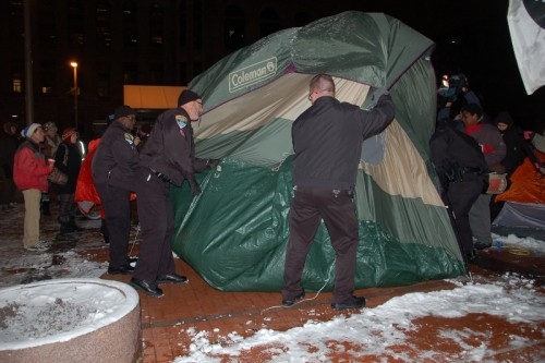 Removing people from their tents