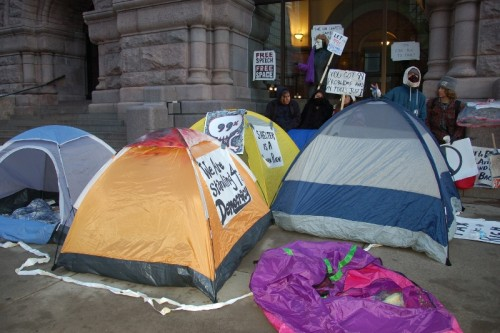 After tents confiscated at People's Plaza, new tents appear at City Hall