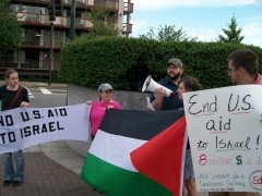 Protestors speaking out against Israel's massacre of activists