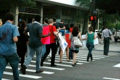 The Coalition marches towards Tampa City Hall.
