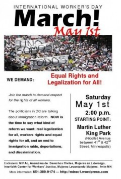 Flyer for May 1, 2010 march in Minneapolis