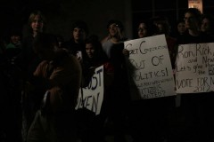 Students and community members protest the Republican Primary Debates.