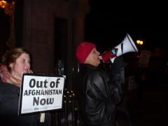 Anti-war protesters at the office of U.S. Representative Betty McCollum