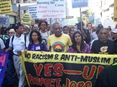 Demonstrators in solidarity with the Muslim community, New York, Sept. 11, 2010