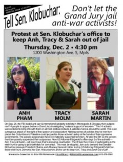 Flyer for MN Committee to Stop FBI Repression action