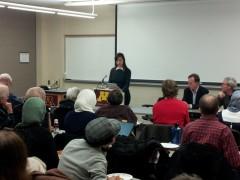Noor Elashi speaking at University of Minnesota.