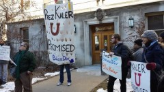 Students rally outside Morrill Hall while others occupy Pres. Kaler's office.