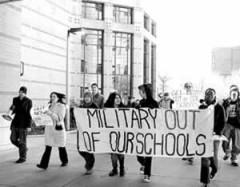 Students march against military recruiters at UIC