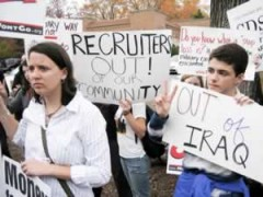 Students protesting military recruitment on campus