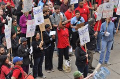 300 graduate employees, faculty, students and campus workers rallied at UIC