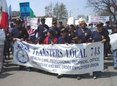 Teamsters Local 743 banner in immigrants rights march