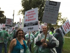AFSCME workers stand on picket line with striking nurses