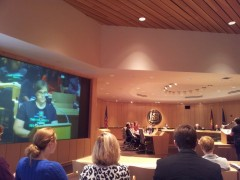 Cherrene Horazuk, President of AFSCME Local 3800, testifying at Regents hearing.