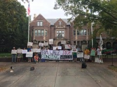 Protest at Governor's residence to demand the divestment of Elbit Systems.