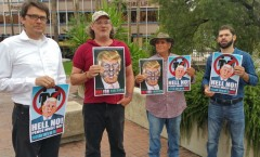 Tucson protest confronts Trump running mate Mike Pence.