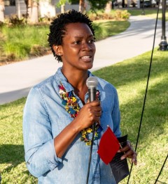 Angie Nixon spoke to the crowd about the importance of building alliances betwe