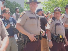 Anti-Muslim bigots protected by State Patrol, June 10.