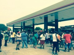 Protesters assemble in Ferguson, MO.