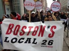 Food service workers at Northeastern University strike against Trump.