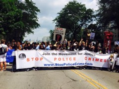 Marching for community control of police in Bud Billiken Parade