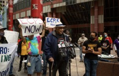 Frank Chapman speaking at rally for community control of police.