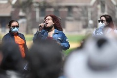 Jazmine Salas of the Chicago Alliance speaking at May Day rally.