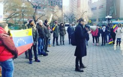 New York protests U.S. intervention in Venezuela.