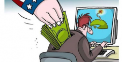 Cuban cartoon lampooning foreign support for counter revolutionaries