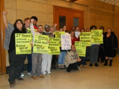 Members and supporters of Welfare Rights Committee outside Senate Committee hear