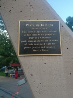 Plaque in La Raza Park, Denver, CO.