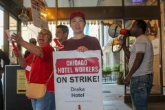 The picket line at the Drake Hotel, in Chicago.