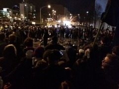 Hundreds of people block the streets outside the Durham Jail