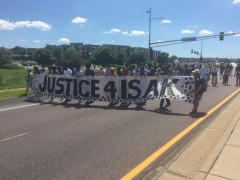 March in Eagan, MN demanding justice for Isak Aden.