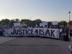Protest demands justice for Isak Aden.