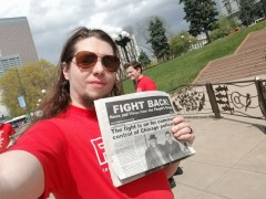 Distributing Fight Back! at Denver May Day event.