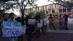 Florida State students rally against misogynist bigot Milo Yiannopoulos.