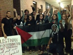 Farah Khan and members of Students for Justice in Palestine