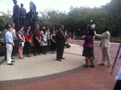 Florida State Senator Dwight Bullard speaking in support of student press confe