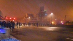 Cops lined up at Ferguson protest