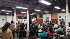 Gloria Arellanes speaking at commemoration of Chicano Moratorium.