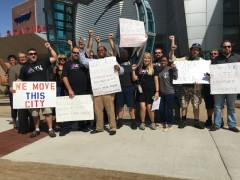 ATU members and supporters protest Grand Rapids area transit board