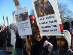 Protest Jan. 6, 2012 against cutoff of bank transfers to hawalas in Somalia