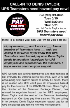 UPS Teamsters plan call-in to demand hazard pay