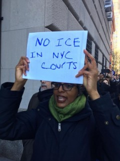 Lawyers protest courthouse ICE arrest.