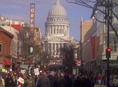 Crowd of 150,000 people in Madison March 12.