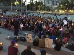 Solidarity protesters gather in San José.