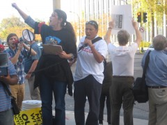 Speaking out at the rally against FBI raids on anti-war protesters.