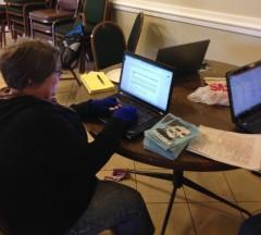 Jess Sundin working in new Rasmea Defense Committee office.
